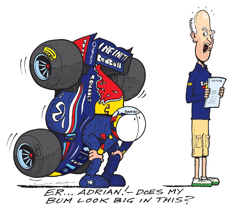 Даниэль Риккардо примеряет сиденье в Red Bull - комиксы Jim Bamber
