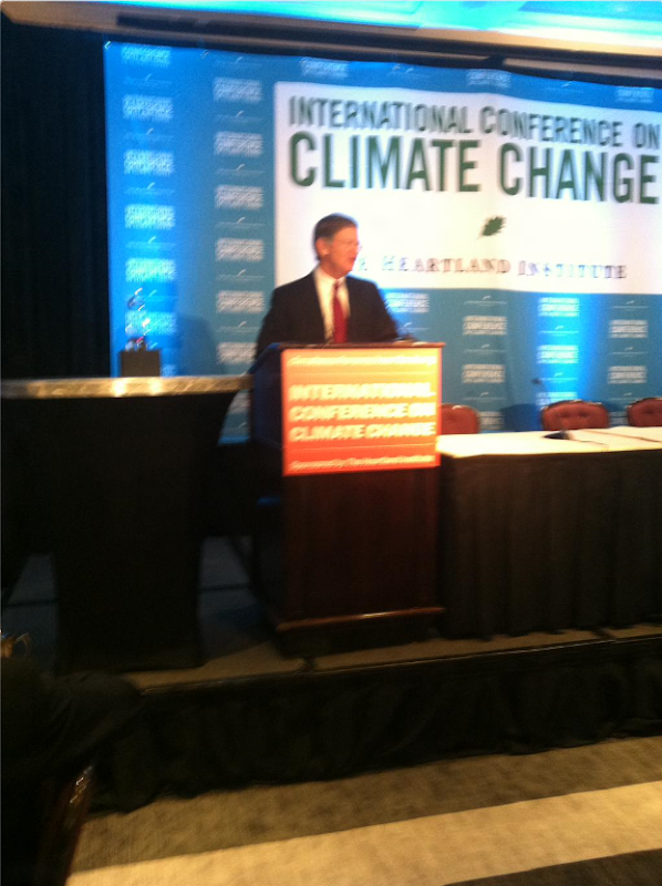 Speaking at the Heartland Institute's climate denier conference in Washington DC on 11 June 2015, Lamar Smith, a Republican member of the US House of Representatives, declared war on the Obama administration, NASA, and the US Environmental Protection Agency (EPA) to undermine attempts to prevent dangerous climate change. Photo: Heartland Institute
