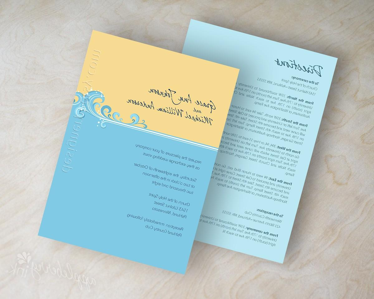 Wedding invitations, destination, beach waves, modern, contemporary in baby