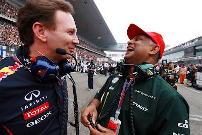 Кристиан Хорнер и Тони Фернандес на стартовой решетке Гран-при Китая 2012