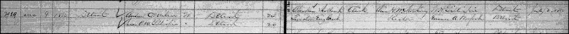 Copy of MILNE_Andrew C marriage record to Susan GILLESPIE_9 Jun 1880_DetroitWayneMichigan_cropped