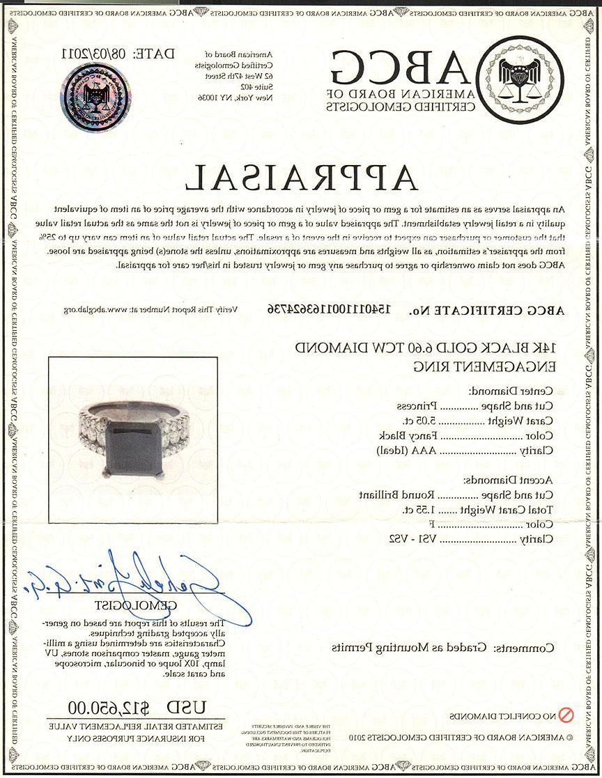 6.60 CARAT PRINCESS CUT NATURAL BLACK DIAMOND ENGAGEMENT RING BLACK GOLD