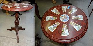 Столик с мраморной столешницей. 19-й век. Мрамор, фарфоровые расписные вставки. Деревянная ножка. 60/75 см. 3300 евро.