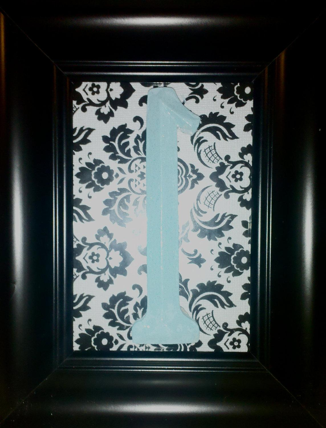 Tiffany Blue Wedding & Damask Table Number Frame