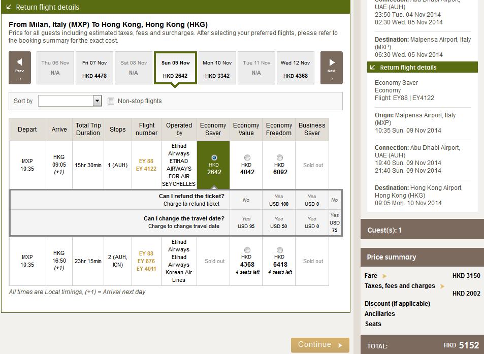 Etihad Airways阿提哈德航空飛米蘭(連稅 HK$5,152)