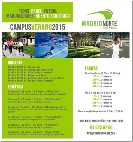 Campus de Verano 2015 en el Club Deportivo Madrid Norte. Apúntate!