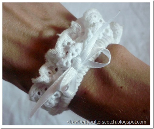 White Lace Wrist Cuff with Ribbon Bow
