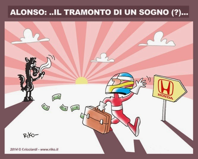 Фернандо Алонсо уходит от Ferrari к Honda - комикс Riko