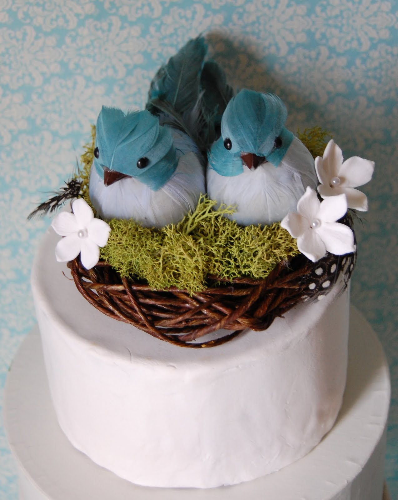 blue bird wedding cake nest