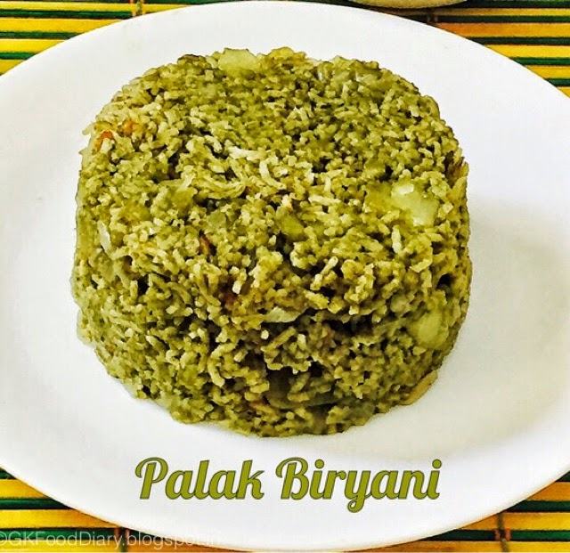 Rice Palak Biriyani Recipe