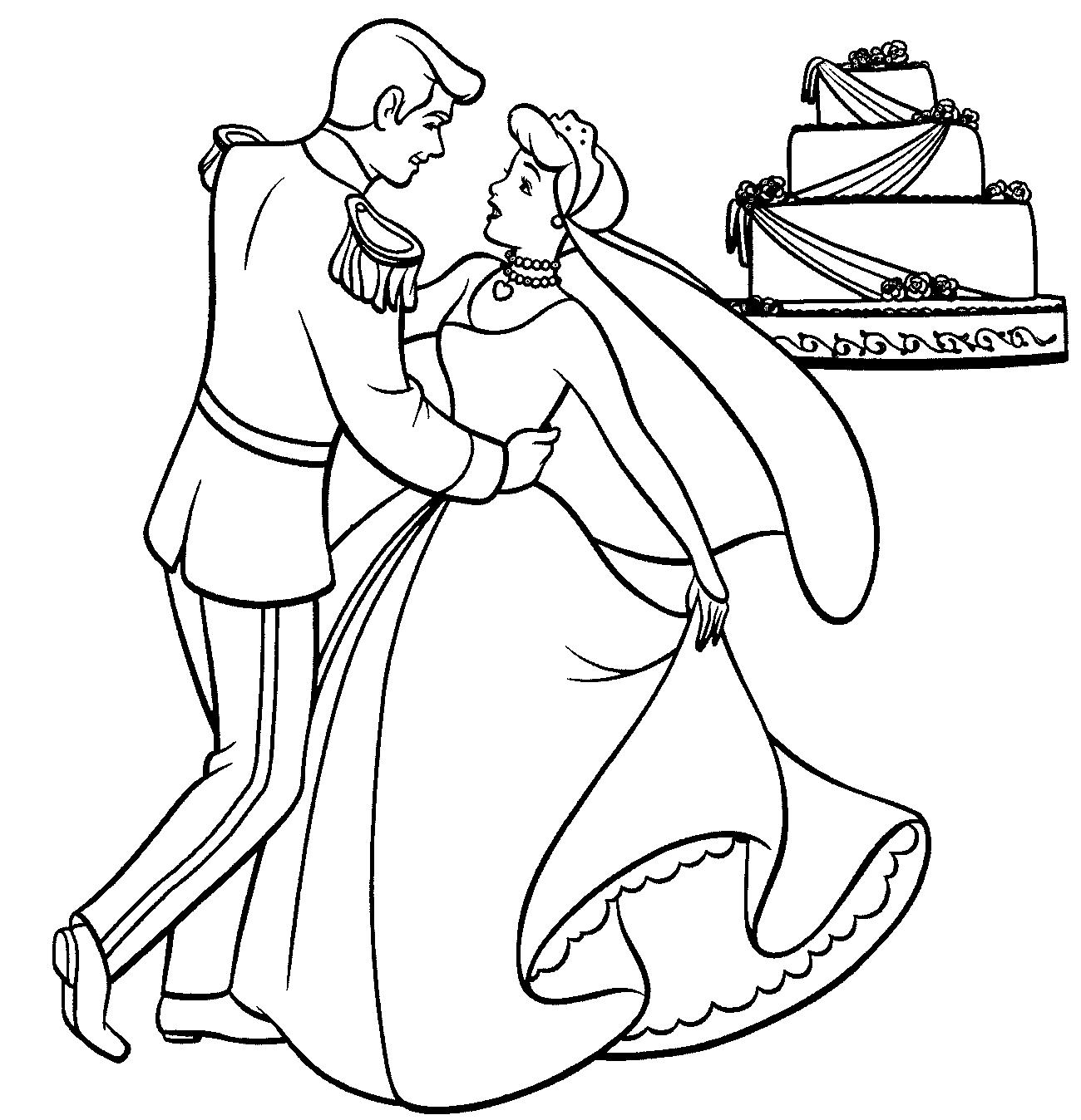 Princess wedding coloring pages - Princess Wedding Coloring Pages Cinderella Wedding Colouring Pages 1300x1348