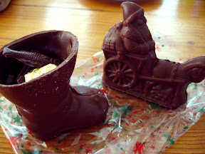 I don't know if it's a French tradition or what, but a lot of places were selling chocolate boots stuffed with funny chocolate shapes, to celebrate Christmas. It was delicious chocolate though, made here in Madagascar!