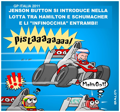 Дженсон Баттон обходит Льюиса Хэмилтона и Михаэля Шумахера в Монце - комикс Baldi по Гран-при Италии 2011
