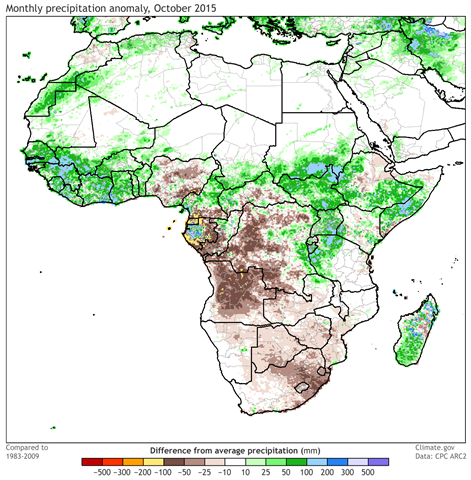 Monthly precipitation departure from the long-term average in Africa during October 2015. Data are from the CPC ARC2. Graphic: climate.gov