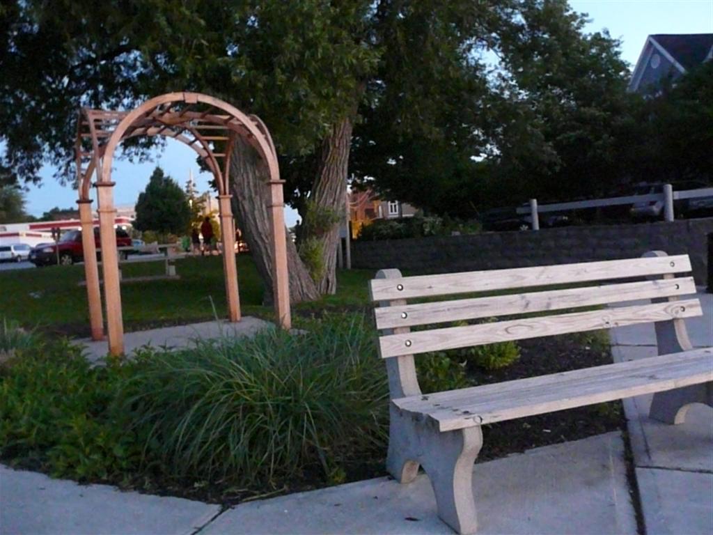 bench wedding arch.