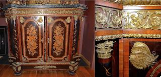 Большой антикварный комод с изумительным декором. Мрамор, бронза, позолота, маркетри, ценные породы дерева. 180/56/137 см. 21000 евро.