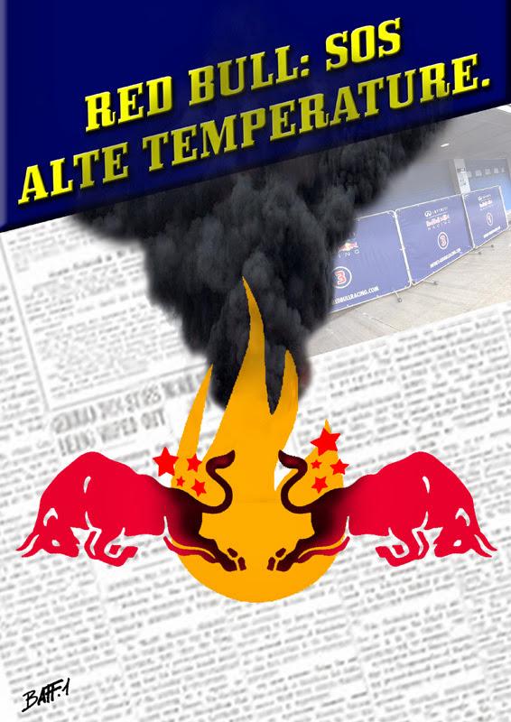 Red Bull горит на тестах в Хересе - комикс Baffi
