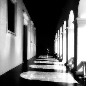 Main hall at Church in Goa by Sudharshun Gopalan - Buildings & Architecture Other Interior ( hall, passage, shadow, corridor, sudharshun, light )