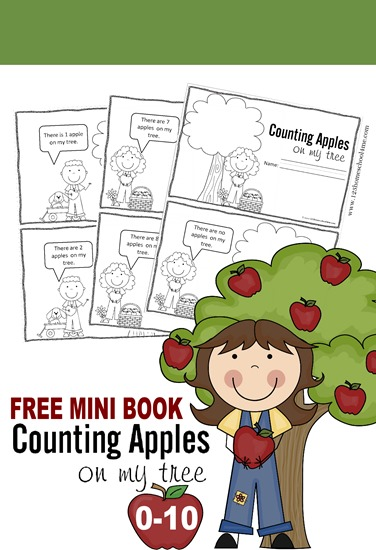 FREE Counting Apples Printable Book for Kids - what a fun fall counting activity for toddler, preschool, prek, and kindergarten age kids. Great for practicing writing numbers 0-10, counting, and early reader.