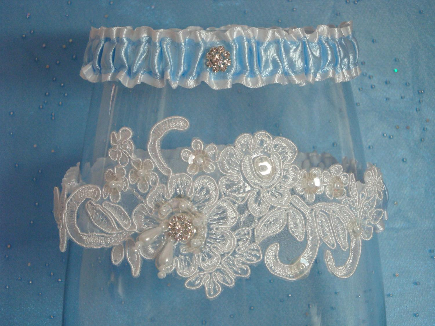 White and Blue Garter Set