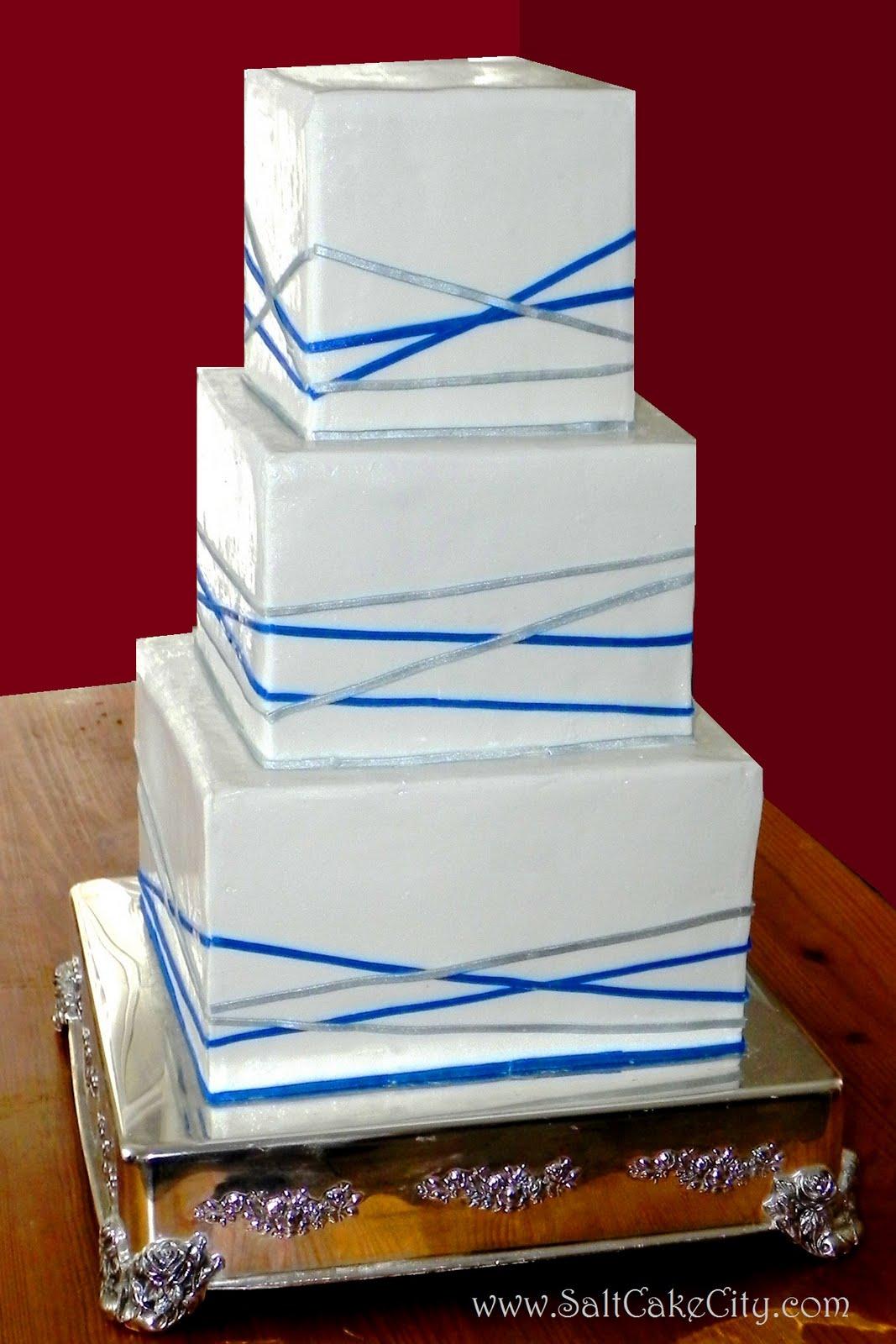 Blue & Silver Stripes Cake