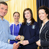 Karen Gallagher, Junior Athlete of the Year receiving her prize from Shaun McFadden, Eiblin Crampsie, Teacher and Fiona Temple, Principal at the Mulroy College Junior Prize Giving.   Photo:- Clive Wasson