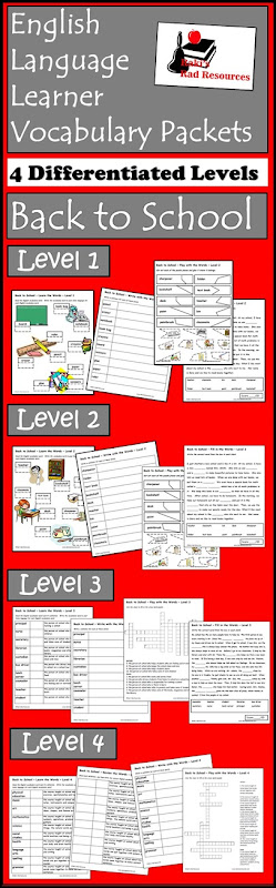 Vocab Packets - Back to School - Four differentiated levels to get your ESL students started in describing the world around them. Free download from Raki's Rad Resources.