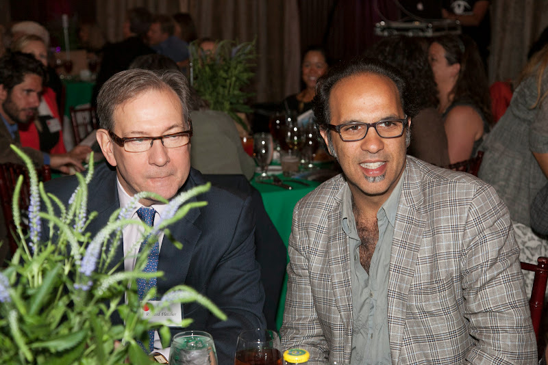 Richard Fletcher with Amazon Watch board member and founder of Numi Tea, Ahmed Rahim. September 25, 2013; San Francisco, CA, USA; Photo by Eric Slomanson / slomophotos.com