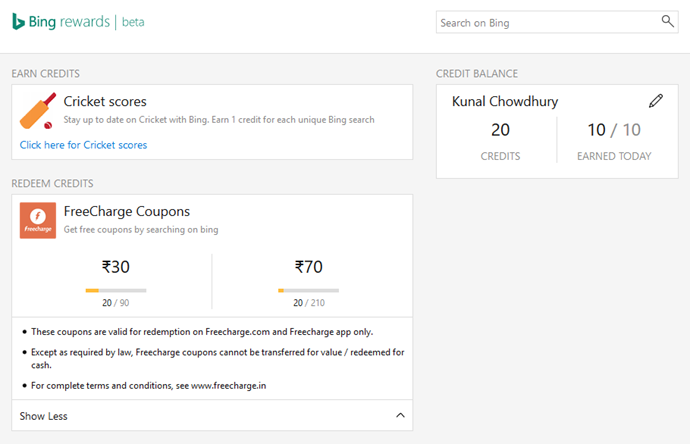 Bing Rewards now available in India, FreeCharge coupons as redeemable gifts (www.kunal-chowdhury.com)