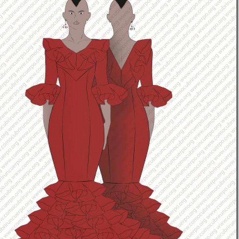 patrones traje de flamenca con bata de cola
