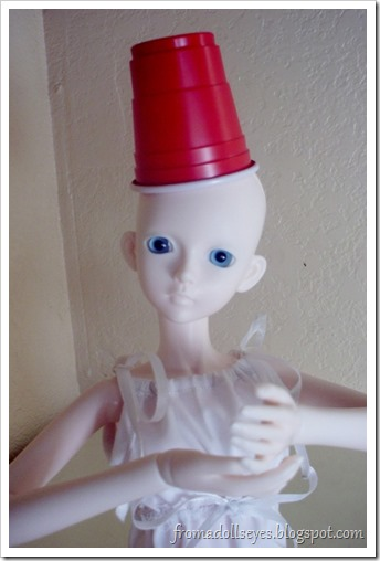 Bjd Wearing a Plastic Cup as a Hat