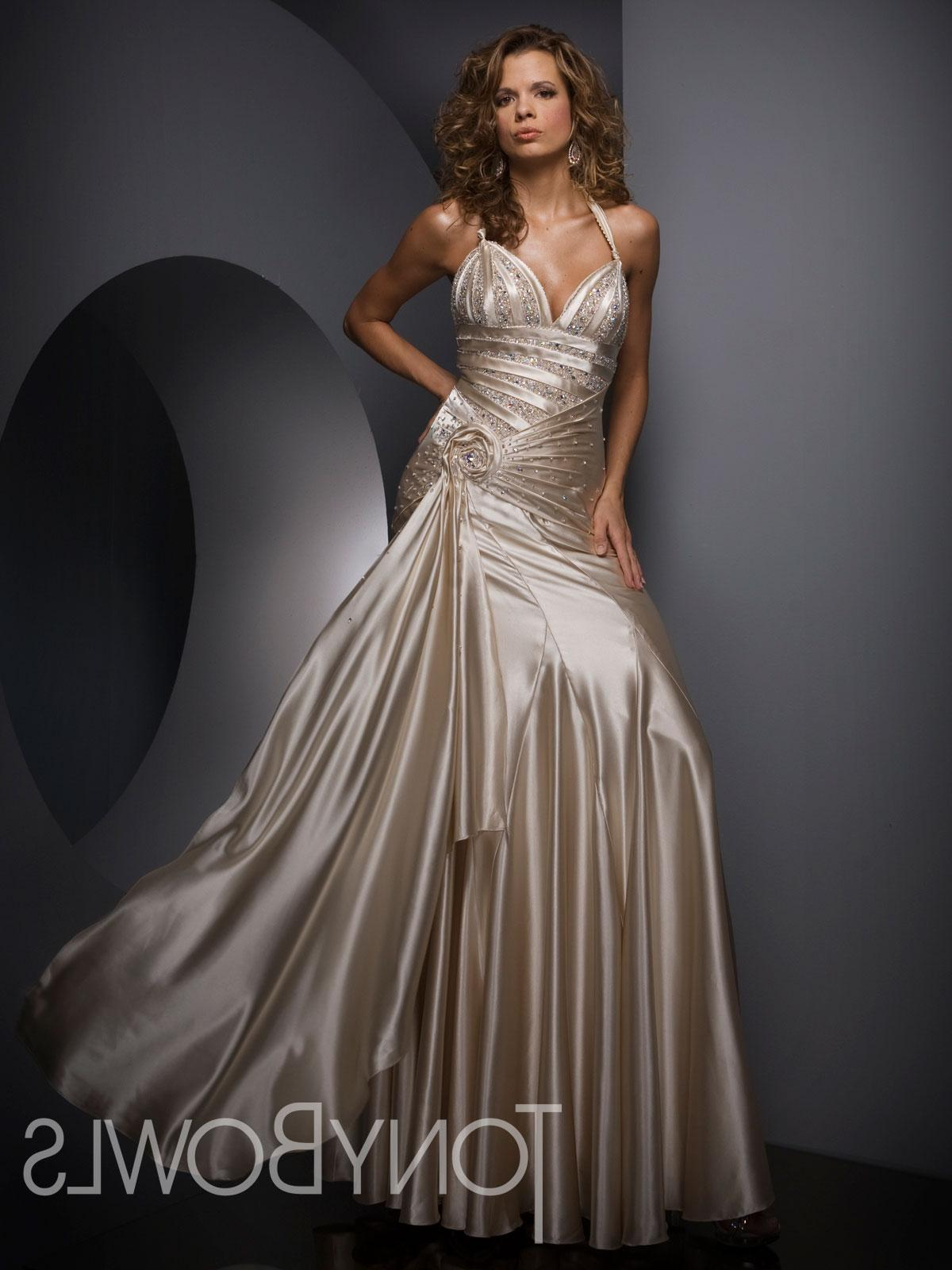 Fit-N-Flare Halter Floor Length Charmeuse Evening Dress Style TBE21008