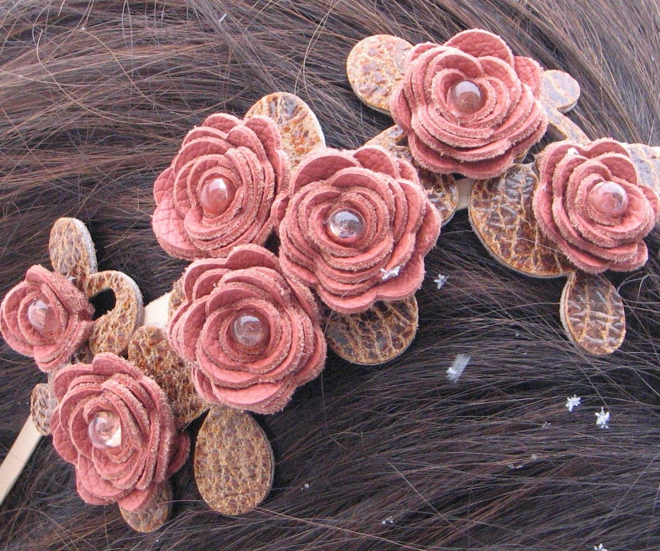 Pink flower headband leather coral roses brown leaves on cream metal