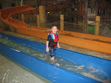 Logan Vojtko and Hannah going down a water slide at Kalahari in OH 02182012a