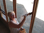 Karen staining great room window 11/2