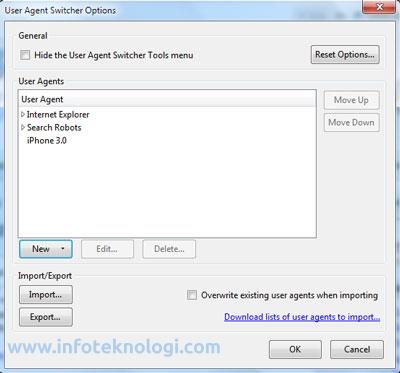 cara merubah User agent string