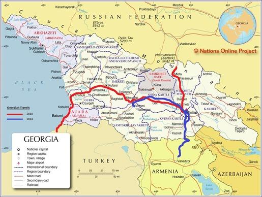 Map of the Caucasus Republic of Georgia