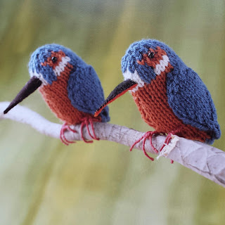 Knitted kingfishers by Nicky Fijalkowska