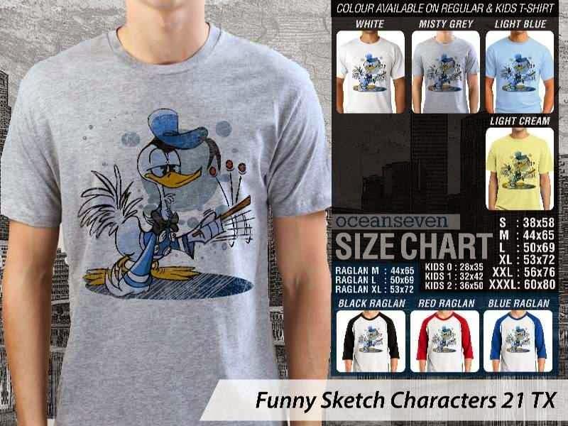 Kaos Kartun Lucu Funny Sketch Characters 21 donal bebek distro ocean seven