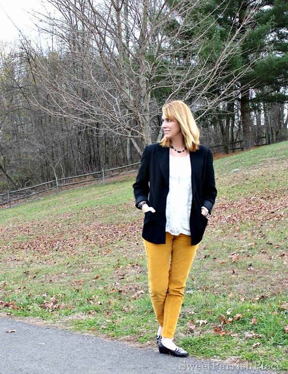 mustard-corduroys-black-blazer-lace-top-zebra-flats-1