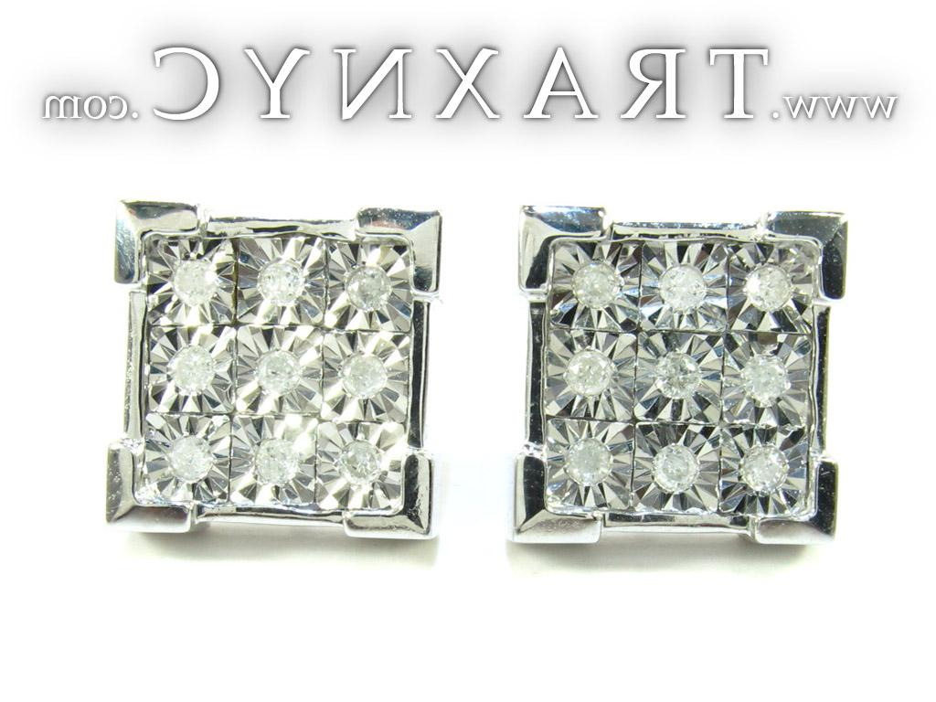 Full Size Picture for White Silver Round Cut Bezel Diamond Earrings 25287
