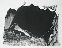 Dej BAO. 019 . Un Chemin dans la Pierre . 1976 . Lithographie . 50 x 65 cm