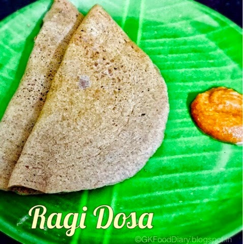 Finger Millet Dosa with Urad dal (Keppai Dosa)