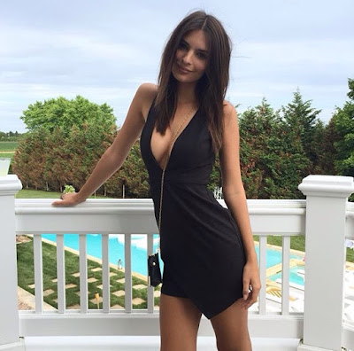 Emily Ratajkowski Emrata Instagram in Black Low Front Mini Dress for Revolve Clothing
