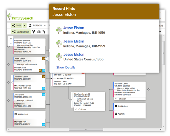 FamilySearch Family Tree landscape pedigree record hints