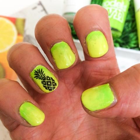 beauty-blog-models-own-polish-for-tans-flip-flip-bikini-pineapple-nail-art-neon-festival-summer-nail-art-yellow-green