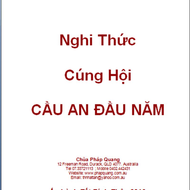 NGHI THỨC CÚNG HỘI CẦU AN ĐẦU NĂM–TT Thích Nhật Tân soạn