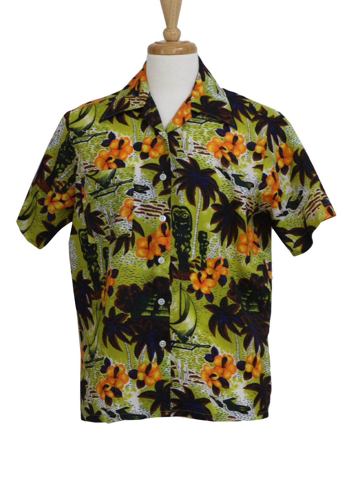 70s -Waikiki 76- Mens yellow green, white, black, dark brown,