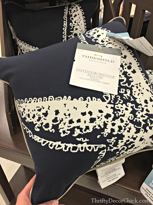 navy blue outdoor pillow
