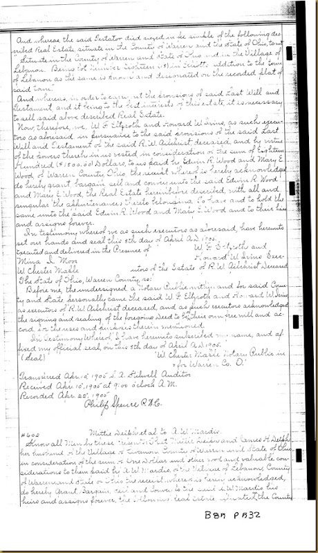R.W. Gilchrist will probate executors  Howard W. Ivins 1905 1